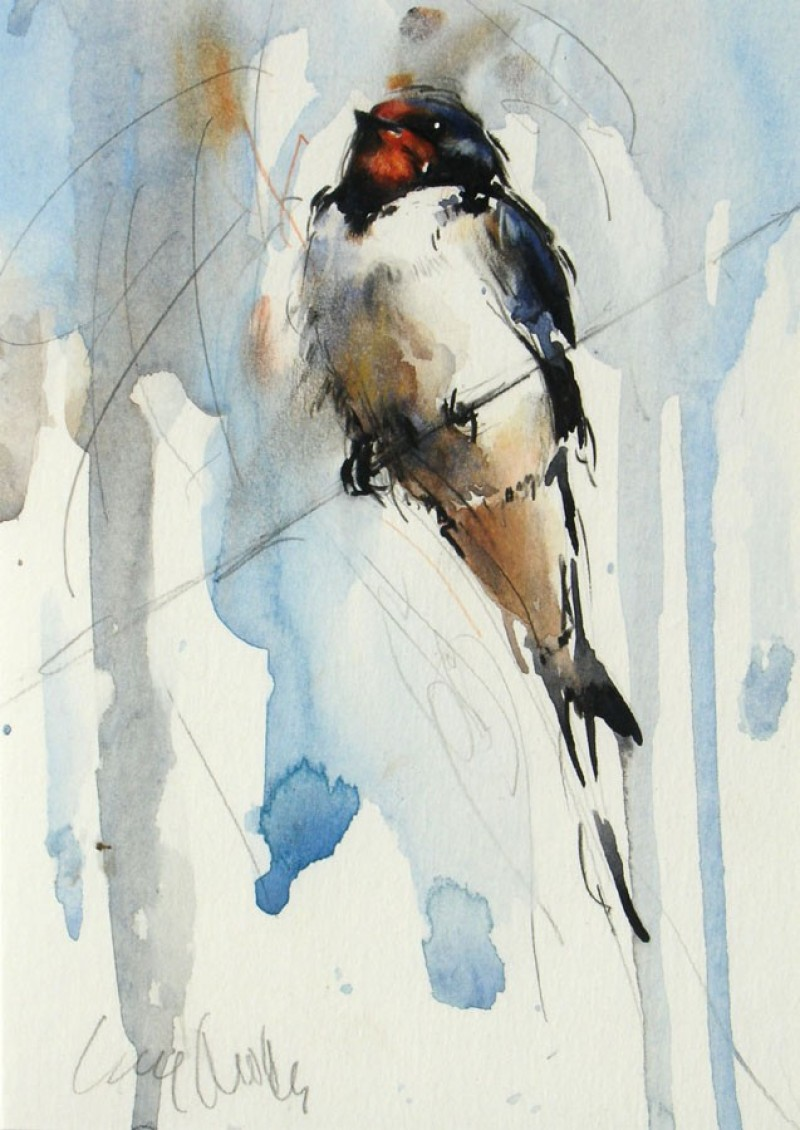Swallow on Wire by Lucy Newton