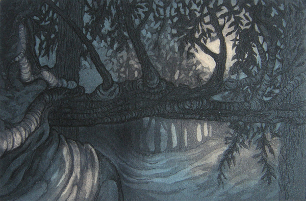 Trees at Crathes — etching by Kitty Watt