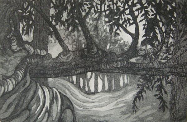 Kitty Watt  Trees at Crathes aquatint