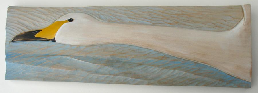 Whooper Swan —wood carving by Kathryn O'Kell
